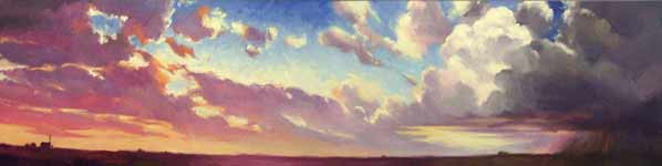 Panoramic oil mural of Iowa sky at sunset, with reddish purple clouds, blue sky, and thunderstorm