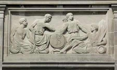 Bas Relief from east facade illustrating men's subjects