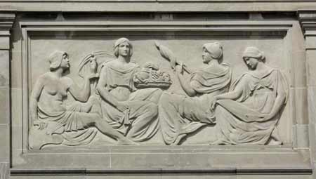 Bas relief from east facade, illustrating women's subjects