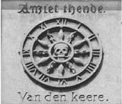 Printer's mark on facade, skull in center of clockface