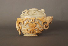 1 - Cup and Lid, ornately carved, asymmetrical cup and lid