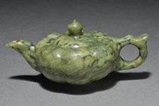 10 - Teapot - mottled olive green, flattish shape