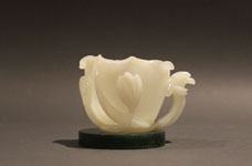 2 - Cup with Stand - white, almost translucent, carved
