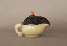 20 - Yi Water Vessel, white body, dark brown carved lid, coral-colored knob on lid