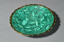 8 - Bowl with Gilded Rim - blue-green malachite, vrey shallow bowl with gilded rim