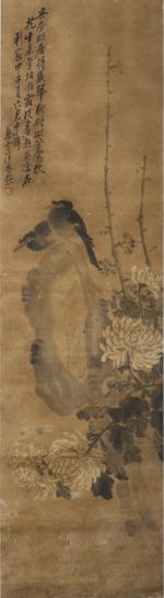 (Autumn, Xuexi) chrysanthemums with two dark birds