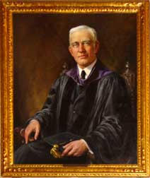 Portrait of Storms, wearing academic gown