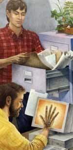 Detail - two men, one seeing x-ray of hand, other reading papers from filing cabinet
