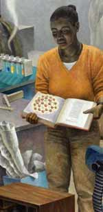 Detail - Woman in lab, holding book