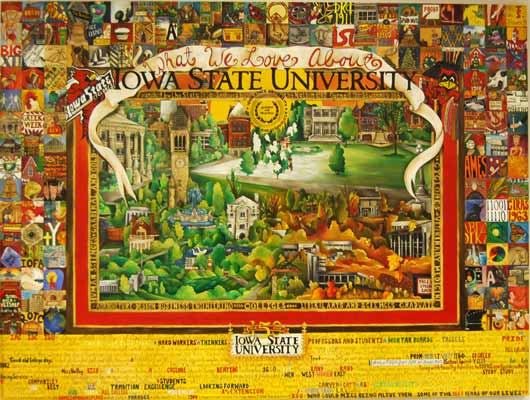 Patchwork of images around sides, center is collection of ISU campus images