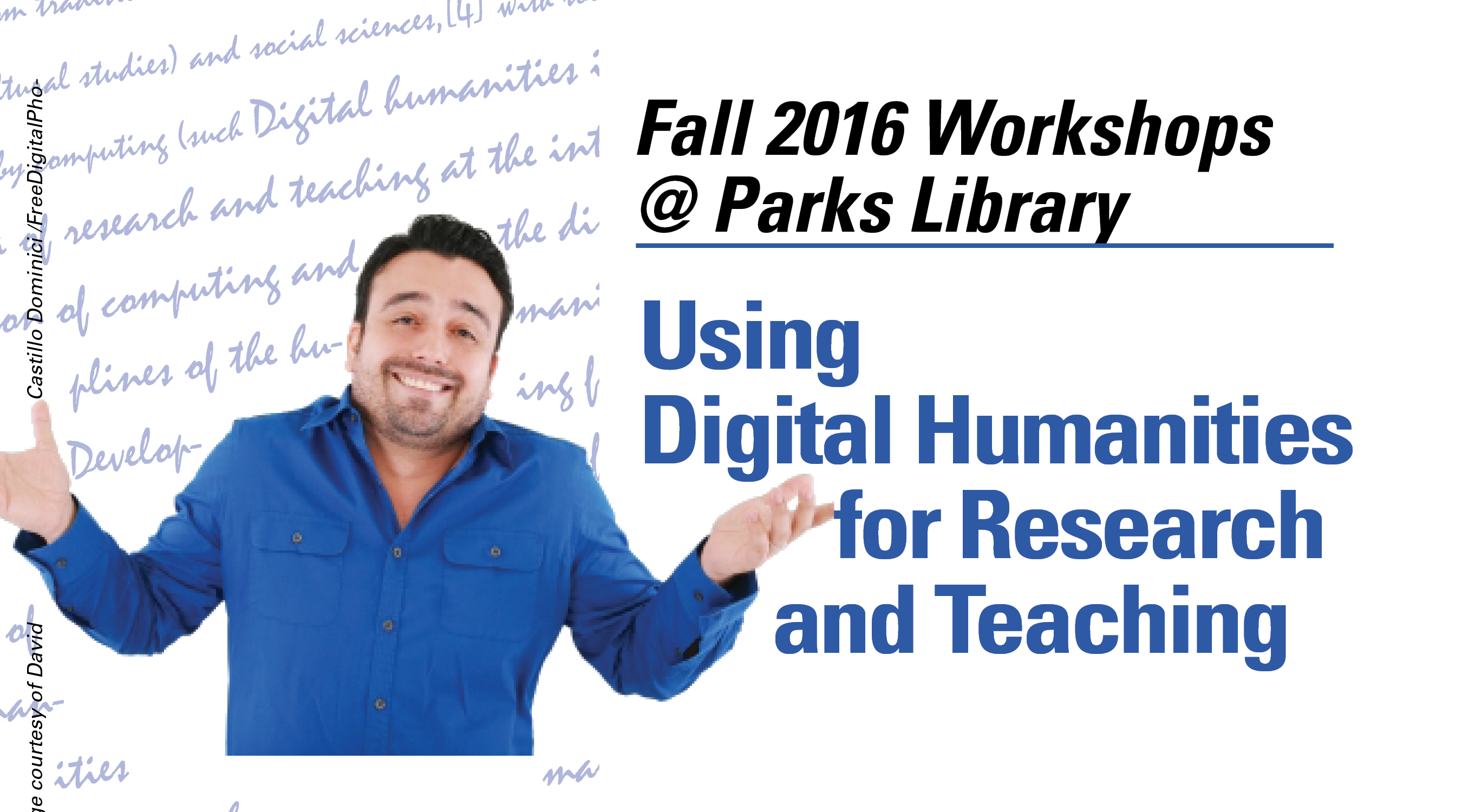 Image of confused man. Title: Using Digital Humanities in Research and Teaching.