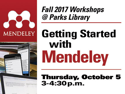 Mendeley logo, images of digital devices. Getting Started with Mendeley.